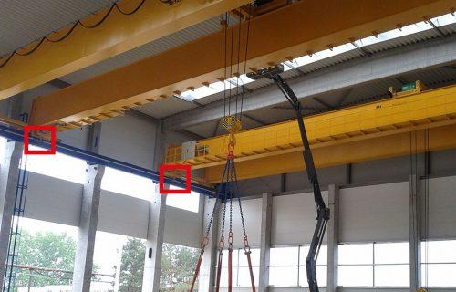 Rails électriques pour l'alimentation de plusieurs ponts roulants bipoutres.
