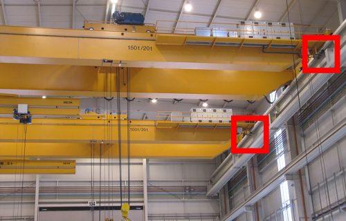 Rails électriques pour l'alimentation de ponts roulants de 150 Tonnes et 100 Tonnes. Installation standard sous abri.