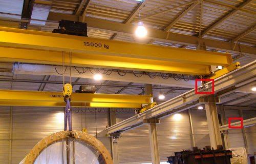 Rails électriques pour l'alimentation de ponts roulants de 15 Tonnes.