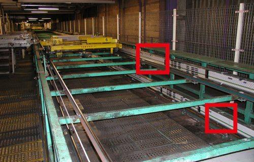 Rails électriques pour l'alimentation en puissance et contrôle de chariots transbordeurs en milieu ambiant poussiéreux.