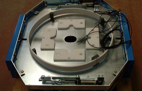 Zamknięty system szyn prądowych w kształcie koła do zasilania stołu obrotowego przy taśmie montażowej.